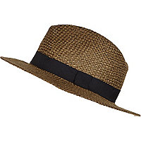 Green straw fedora hat