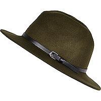 Khaki green fedora hat
