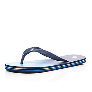 Blue striped sole flip flops