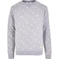 Grey Bellfield ditsy ski print sweatshirt