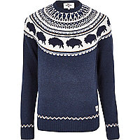 Navy Bellfield bison print knitted jumper