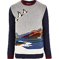 Navy Bellfield flying ducks knitted jumper