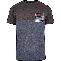 Grey Bellfield Check pocket t-shirt