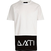 White Antioch symbol longer length t-shirt