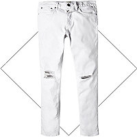White ripped knee Eddy skinny stretch jeans