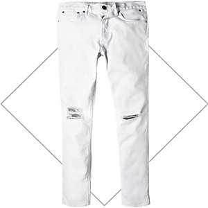 White ripped Eddy skinny stretch jeans