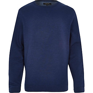 Navy basic space dye long sleeve sweatshirt