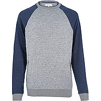 Grey zip pocket raglan sleeve sweatshirt