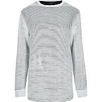 Ecru stripe curved hem sweatshirt