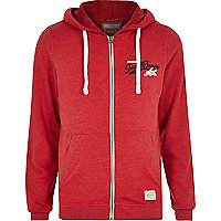 Red Jack & Jones Vintage zip front hoodie