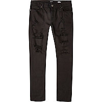 Black distressed Sid skinny stretch jeans