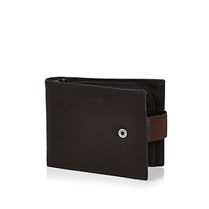 Black leather popper wallet