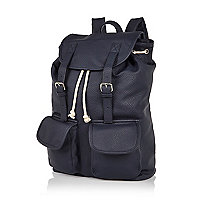 Navy leather-look backpack