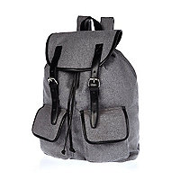 Grey melton backpack