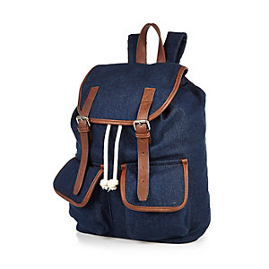 Navy denim tan trim backpack