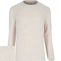 Ecru cable knit jumper
