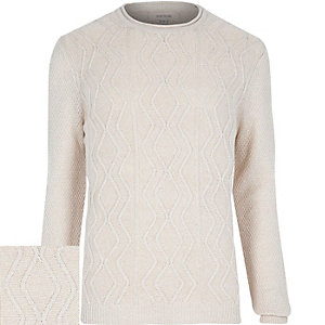 Ecru cable knit sweater