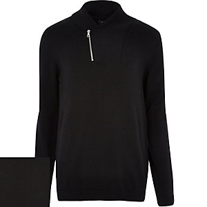 Black zip shawl neck jumper