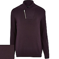Purple zip shawl neck jumper