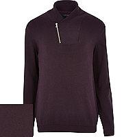 Purple zip shawl neck jumper
