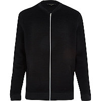 Black ribbed long sleeve bomber jacket