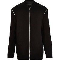 Black longsleeve longer length bomber jacket