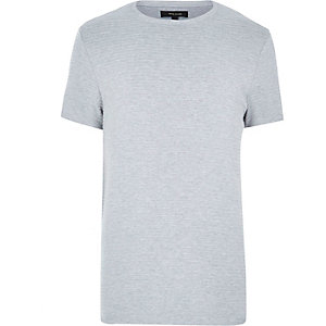 Grey ribbed short sleeve top