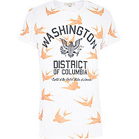 White Washington bird print t-shirt
