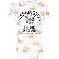 White Washington bird print t-shirt