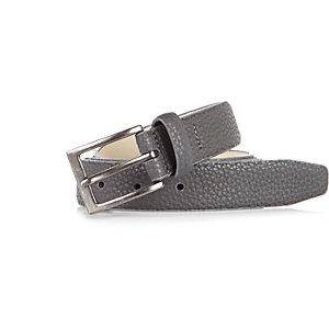 Dark grey leather pebbled belt