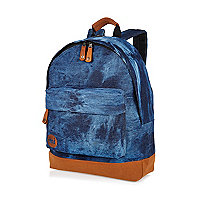 Blue Mipac tie-dye denim backpack