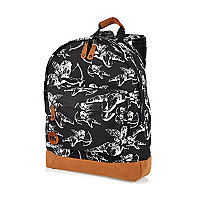 Black Mipac cherub print backpack