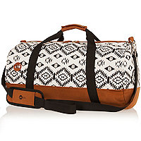 White Mipac tribal print duffel bag