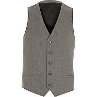 Grey slim suit waistcoat