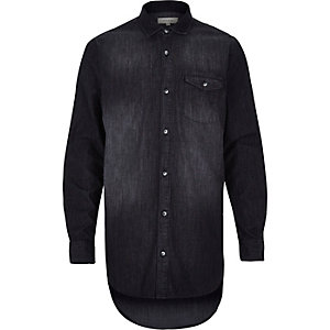 Black washed denim longer length shirt