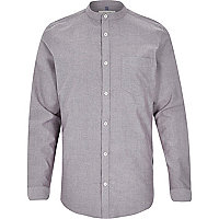 Grey Oxford long sleeve grandad shirt