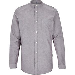 Grey Oxford long sleeve grandad shirt