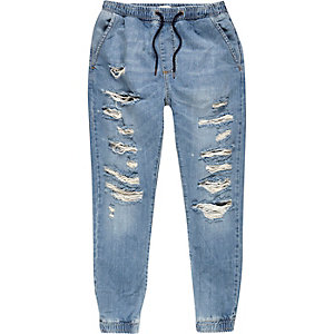 Light wash denim ripped drawstring joggers