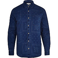 Blue denim paisley print shirt