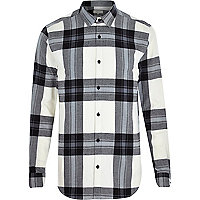 Ecru check oversized shirt