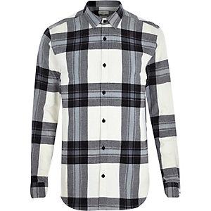 Ecru check oversized shirt