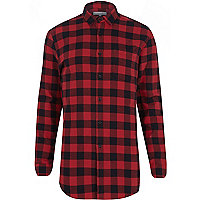 Red check longer length shirt