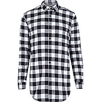 Black check longer length shirt