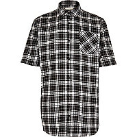 Black check short sleeve skater shirt