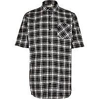 Black check short sleeve skater shirt