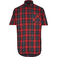 Red check short sleeve skater shirt