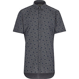 Grey floral print short sleeve shirt