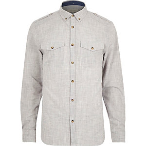 Grey crosshatch long sleeve shirt