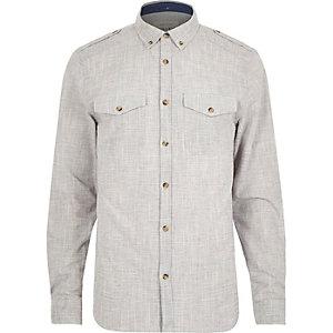 Grey crosshatch long sleeve shirt