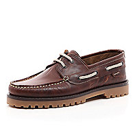 Brown leather cleated sole boat shoes